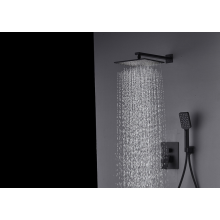 Bathroom full copper hot cold mixer rainfall black concealed  wall shower set