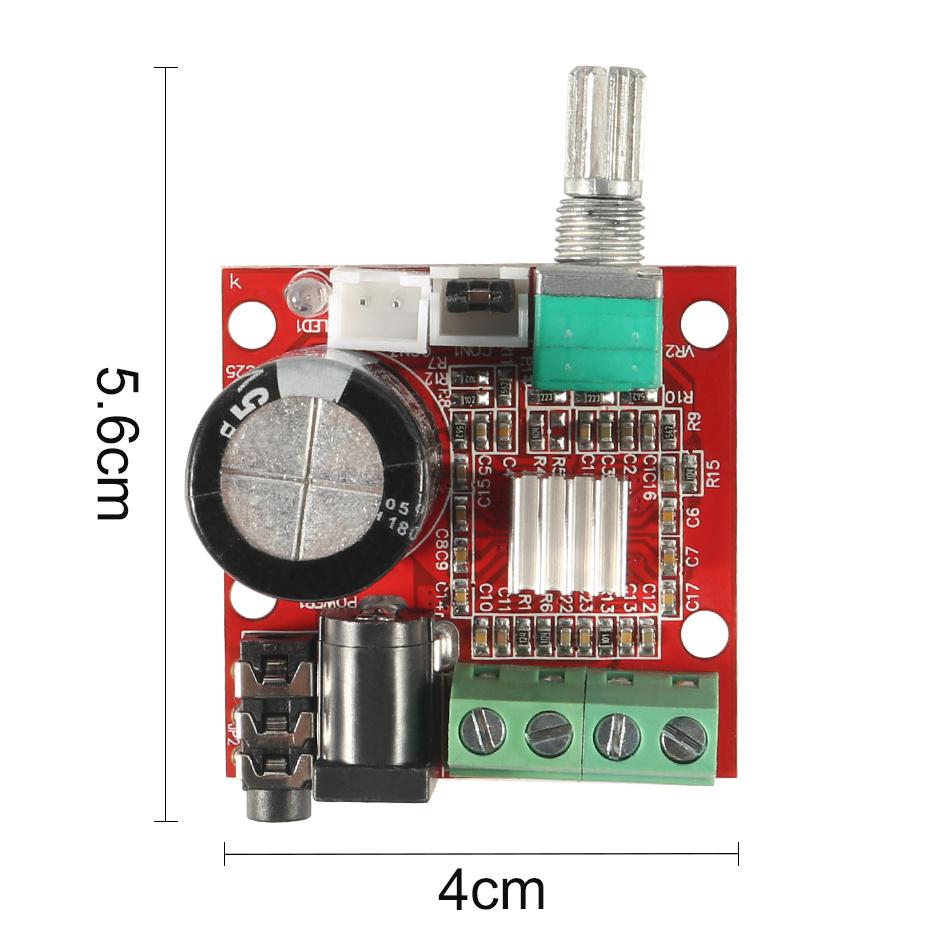 10W + 10W PAM8610 Mini Stereo Audio Power Amplifier Board Module Volume Control Knob Class-D Module DC 7.5V - 15V