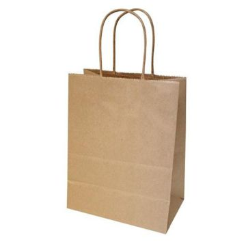Brown recycle kraft paper bags with twisted handles