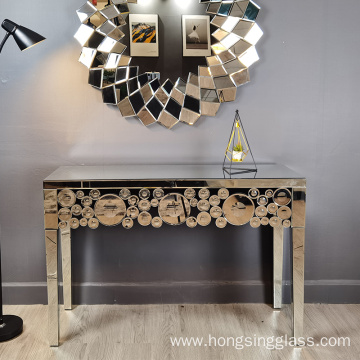 clear mirror and MDF console table