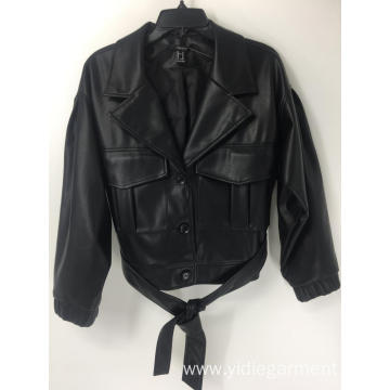 Women's PU Leather Black Casual Jacket