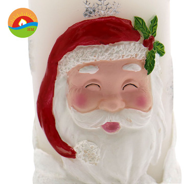 white LED art carved santa claus pillar candle