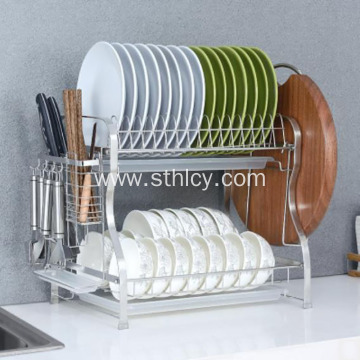 Kitchen Stainless Steel Dish Rack Double Shelf