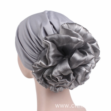 Headwrap bandanas cap with large flower decoration