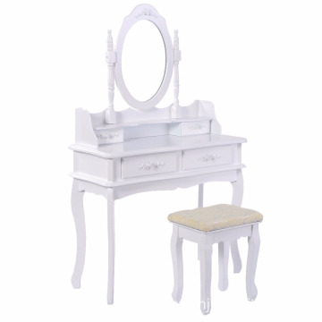 White Vanity Jewelry Makeup Dressing Table Set W Stool 4 Drawer Mirror Wood Desk