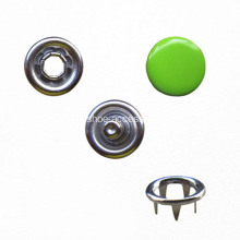 Prong Ring Snap Button with Green Cap for Garment