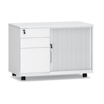 Mobile caddy with tambour door and 3 drawers