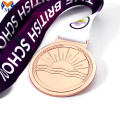 Custom rose gold metal race medals