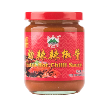 Traditional super chili sauce on the dinner table