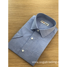 Male cvc jacquard stand--up collar short sleeve shirt