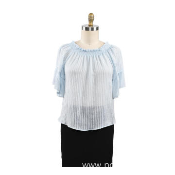Casual Round Neck Women Summer Blouse