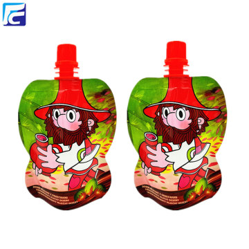 Stand up juice plastic bag with spout
