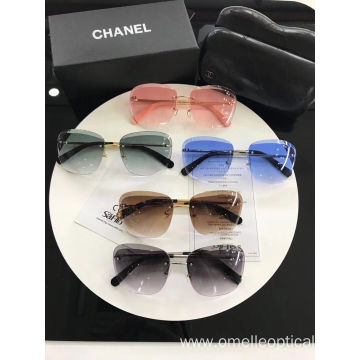 Oval Shape Rimless Sunglasses Fashion Accessories