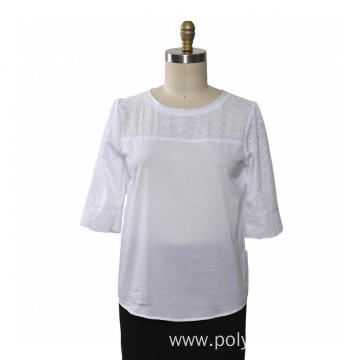 Ladies Blouse Short Sleeve Cotton Embroidery