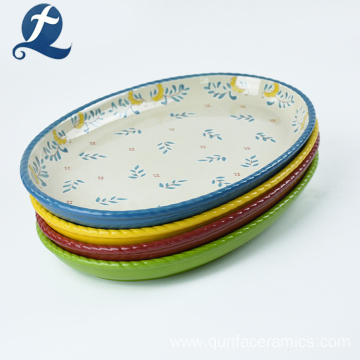Hand Color Custom Ellipse Decorative Ceramic Plate