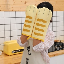 Cute Cat Paws Oven Mitts 3D Cartoon Baking Insulation Gloves Long Cotton Microwave Heat Resistant Non-slip Kitchen Gloves