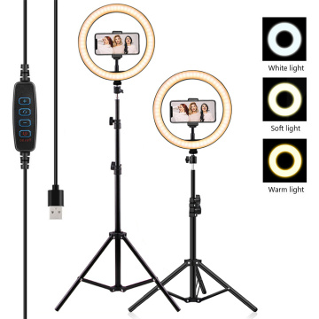 Selfie Dimmable LED Ring Light with Tripod Stand Photography Lighting Profissional Camera Makeup Photo Ring Lamp YouTube