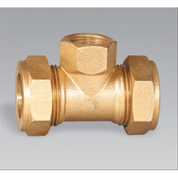 Brass Pipe Fitting Femal Compression Tee Nipple