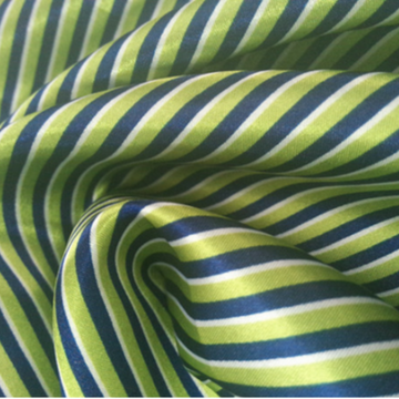 100%polyester green printed stripe satin fabric for dress