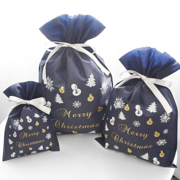 Blue Christmas Party Non-Woven Gift Drawstring Bag