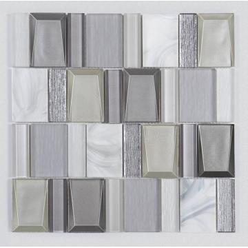 New Product Kitchen White Gray Glass Mosaic Ceramic