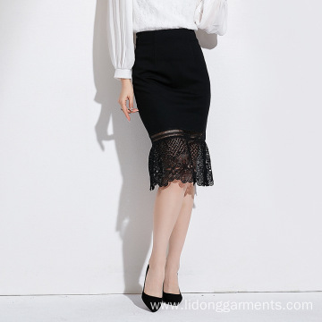 Hollow Out Half-length Skirt with Buttock-wrapped Pure Lace