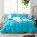 Microfiber Duvet Cover Set With Pull Flower Stitching