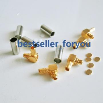 MMCX Crimp Male Plug RA Right Angle RF Connector For LMR100 RG316 RG174 Wholesale
