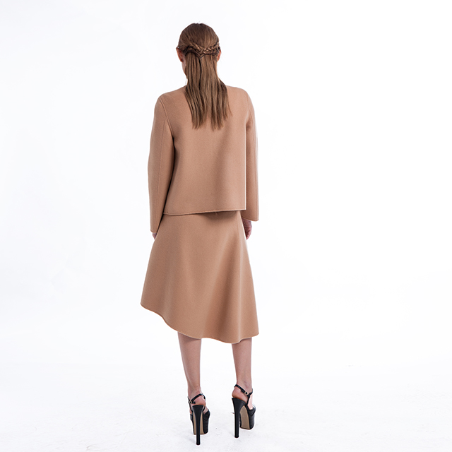 Round collar long sleeve skirt