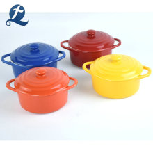 Fashion style household modern design colorful mini ceramic casserole