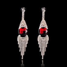 Red Crystal Classic Rhinestone Drop Tassel Earrings