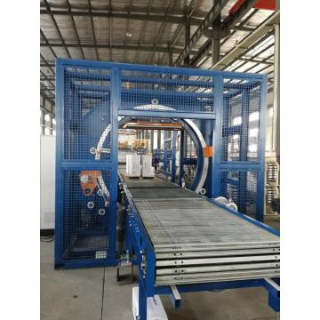 Window and door automatic horizontal stretch film wrapper