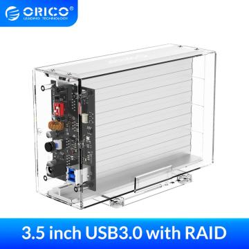 ORICO Dual 3.5'' HDD Enclosure With Raid Function SATA to USB 3.0 Transparent HDD Dock Station Support 6Gbps UASP 24TB HDD Case