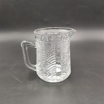Embossed glass creamer with glass handle