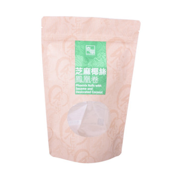 Resealable Composite Kraft Food Grade Window Standing Bag