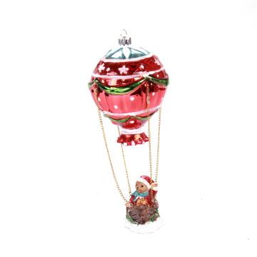 Hot-air Balloon Blown Glass Christmas Ornament For Christmas Tree