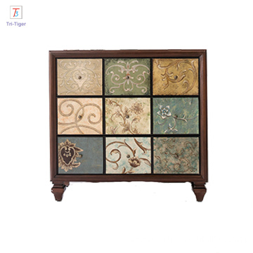 Living Room Painting Side Cabinet Mogao Grottoes pattern 100% solid antique cabinet