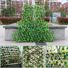 Adjustable Retractable Fence Artificial Leaf Roll UV Fade Protected Privacy Hedging Wall Landscaping Garden Fence Balcony B-Q