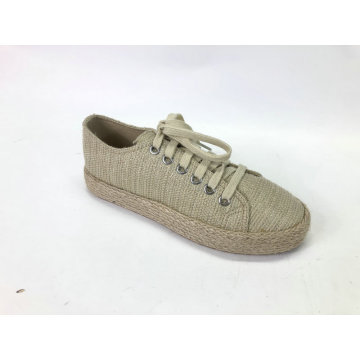 Women's Low Top Lace-Up Chunky Espadrille Flatform Sneaker