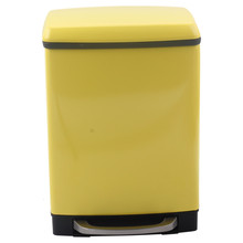 Yellow Stainless Steel Step Trash Can with Bucket