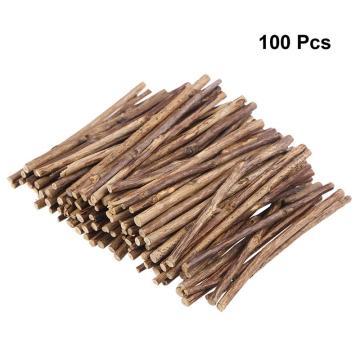 100pcs Long 0.3-0.5CM In Diameter Wood Log Sticks 10CM Tea Tree Sticks Photo Props For DIY Crafts (Wood Color)