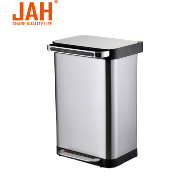 JAH Rectangle Stainless Steel Dust Pedal Trash Bin