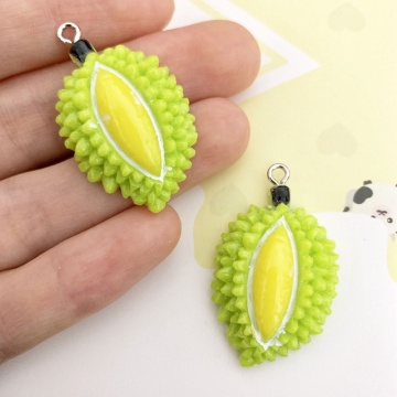 26mm Resin Simulation Green Fresh Durian Fruit Pendant DIY Accessories Charms Handmade Necklace Keychains Earrings 50PCS