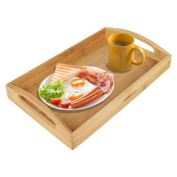 Rectangle Bamboo Butler Serving Tray With Handles for home