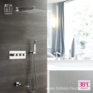 HIDEEP Bathroom Thermostatic Pure Brass Shower Faucet Set
