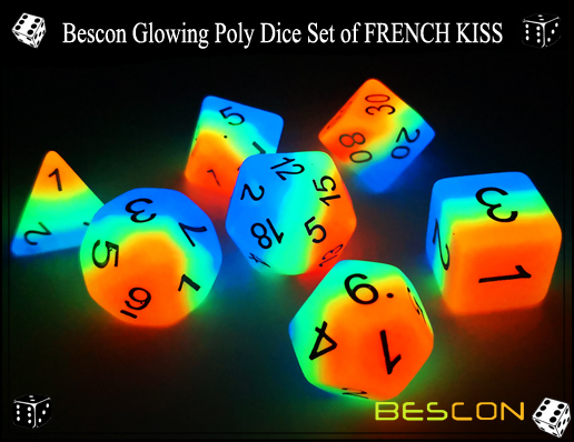Bescon Glowing Poly Dice Set of FRENCH KISS-5