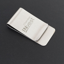 Corporate Promotional Gift Customized Logo Metal Stainless Steel Cash Money Clip Wallet Credit Card Business Card Holder 25pcs