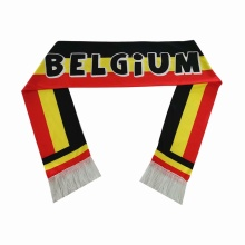Custom satin fabric Belgium flag design football scarfs