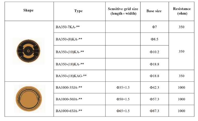 Technical Data of Circular Grid Strain Gauge