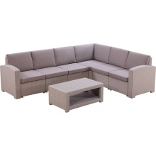 Patio Leisure Corner Rattan Set Outdoor Wicker Sofa